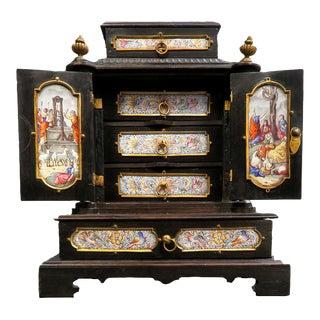 19th Century Viennese Enamel & Bronze Jewelry Box