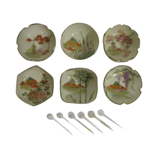 1900s Japanese Satsuma Open Salt Cellars/Dips - Image 1 of 10