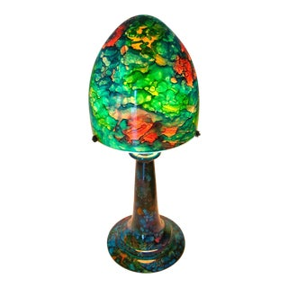 Art Nouveau Jean Noel Bouillet French Art Glass Reverse Painted Blue & Green Rocket Shade Table Lamp
