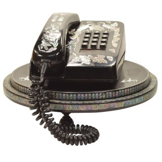Black Lacquer Mother of Pearl Phone Swivel Base