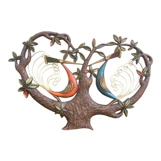 Vintage Birds in a Tree Hanging Wall Sculpture