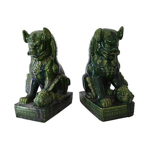 Vintage Grand Emerald Foo Dogs - S/2 - Image 5 of 7