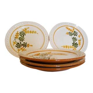 """Mid-Century Modern Stangl Dinner Plates in """"Golden Blossom"""" - Set of 5"""
