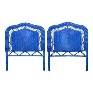 Blue Wicker Headboards - A Pair