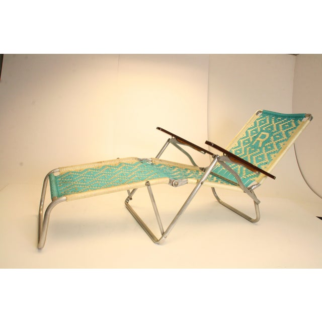 mid century modern aluminum folding chaise lounge chairs pair chairish. Black Bedroom Furniture Sets. Home Design Ideas