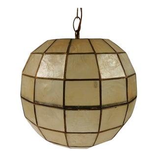 Vintage Round Capiz Shell Hanging Light