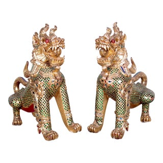 Gilded Thai Rajasi Lion Temple Sentinels - A Pair