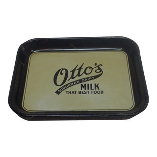"Vintage ""Otto's Milk"" Metal Serving Tray"
