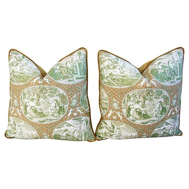 Custom Scalamandre Cupido Toile Pillows - A Pair - Image 6 of 6
