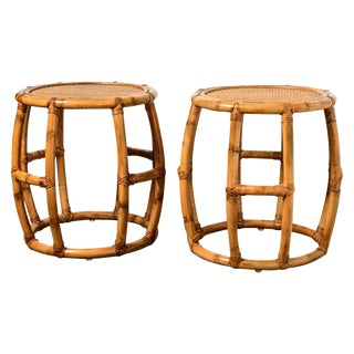 Mid-Century Bamboo Drum Stools - A Pair