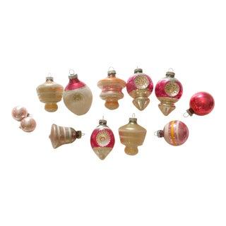 Vintage Orange and Pink Ornaments - Set of 12