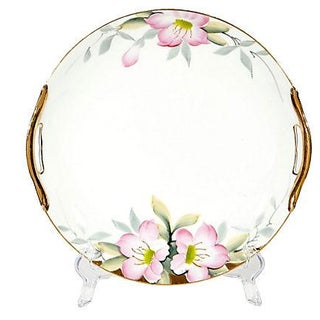 Floral Hand-Painted Gilt Handled Plate