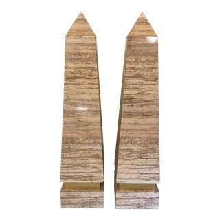 Monumental Pair Faux Travertine Laminate Obelisks