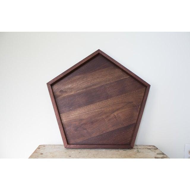Handmade Walnut Wooden Geometric Pentagon Tray - Image 2 of 6