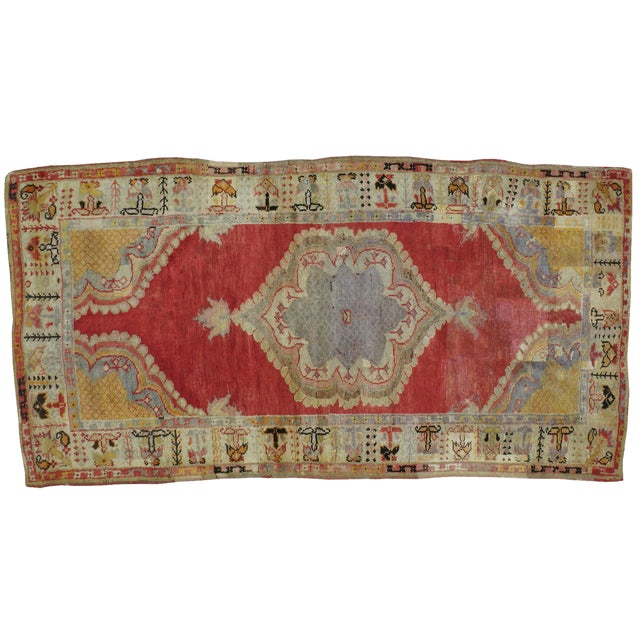 "Antique Turkish Distressed Rug - 4'7"" X 9'3"" - Image 1 of 3"