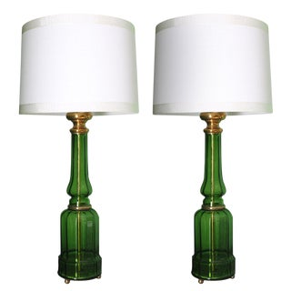 1940's French Green Crystal Lamps- A Pair