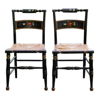 Antique Early American Hitchcock Style Stenciled Wood and Rush Seat Floral Motif Chairs - a Pair