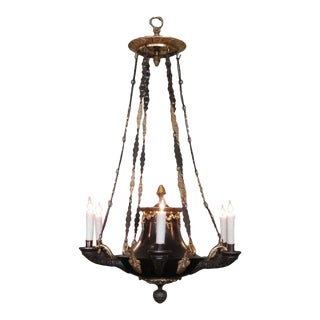 Early 19th English Regency Patinated and Dore Bronze Argand Chandelier