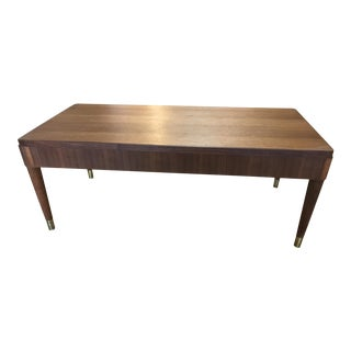 Mid-Century Modern Coffee Table with Brass Feet