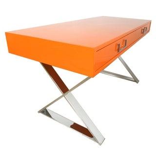 Milo Baughman Campaign Desk in Orange