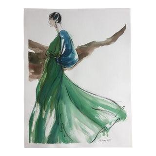 Vintage Original Fashion Watercolor Painting