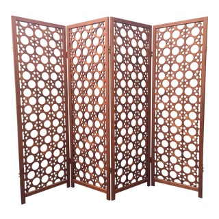Rare Large Vintage 4-Panel Teak Screen Room Divider by McGuire