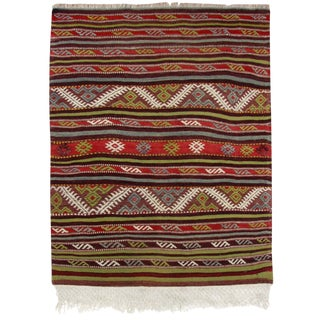 Vintage Colorful Flatweave   2'11 x 3'8 Kilim