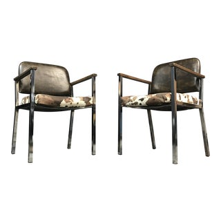 Mid-Century Faux Cowhide Chairs - A Pair
