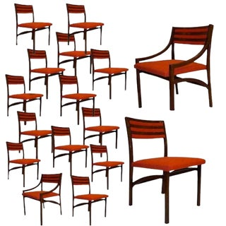 Rare Massive Set of 16 Dining Chairs in Rosewood by Ico Parisi, Italy circa 1960