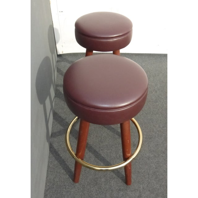 Mid-Century Modern Brown Vinyl Bar Stools - A Pair - Image 6 of 11