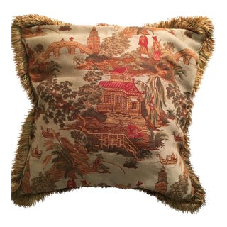 Antique Chinese Textile Pillow with Fringe