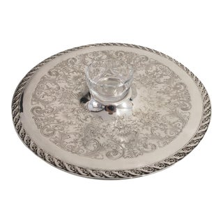 Serving Tray with Cut Glass Sauce Bowl