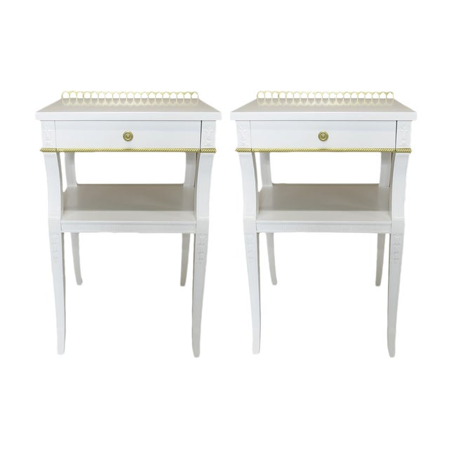Neoclassical-Style Nightstands, Pair - Image 1 of 6