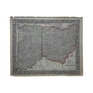 Antique Map of Ohio & Indiana