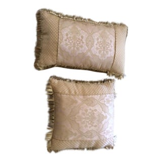 Stratford Beige Patterned Pillows - A Pair