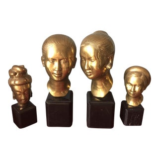 Asian Female Head Sculptures - Set of 4