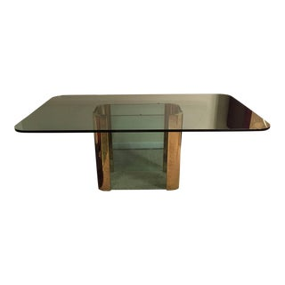 Pace Collection Brass and Glass Base Dining Table
