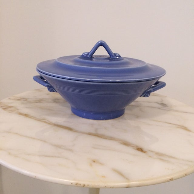 Image of Homer Laughlin Harlequin Blue Covered Dish