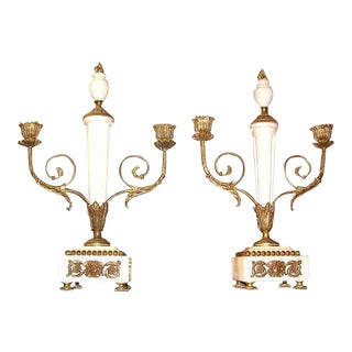 Continental Marble and Gilt Bronze Candelabra - A Pair