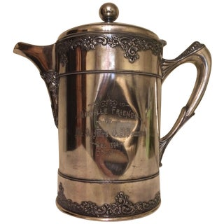 1894 Engraved Silver Plated Water Pitcher Trophy