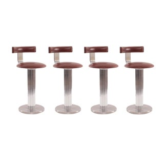 Four Leather and Chrome Barstools by Design For Leisure