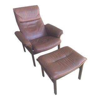 G Mobel Sweden Reclining Lounge Chair & Ottoman