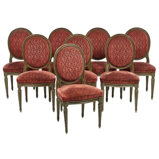 Set Of 8 French Antique Louis XVI Style Medallion Back Chairs