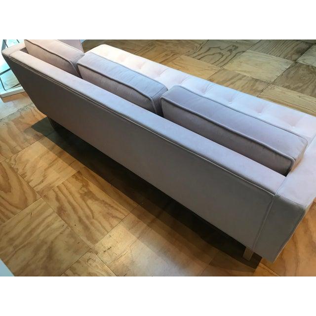 Modern Light Pink Velvet Sofa - Image 4 of 5