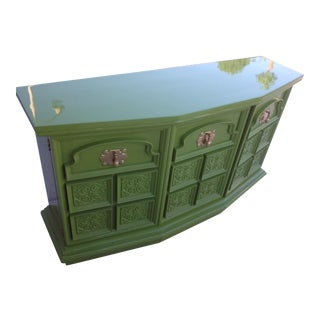 Vintage Pop of Green Credenza