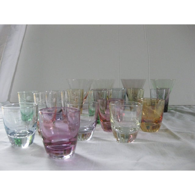 Vintage Multi-Colored Cocktail Glasses - 23 Pieces - Image 4 of 11