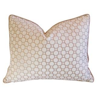Custom White Velvet Geometric Feather/Down Pillow