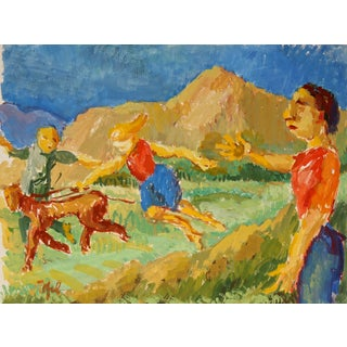 Expressionist Outdoor Scene - J. Tofel Painting