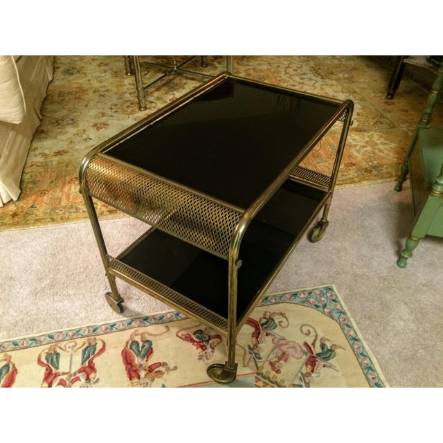 Mid-Century Brass & Black Glass Bar Cart - Image 3 of 11