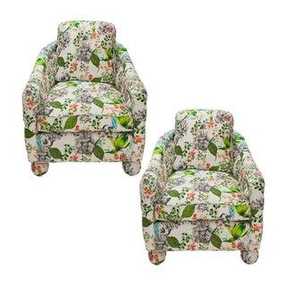 Botanical Print Barrel Chairs - A Pair